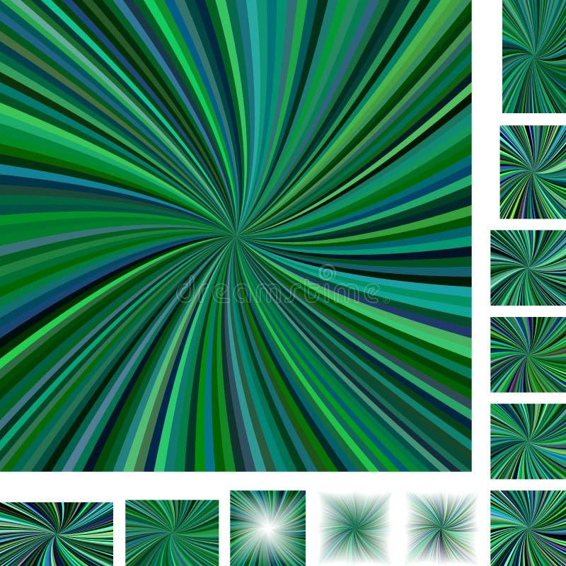Green spiral background set. Green vector spiral design background set. Different color, gradient, screen, paper size versions vector illustration
