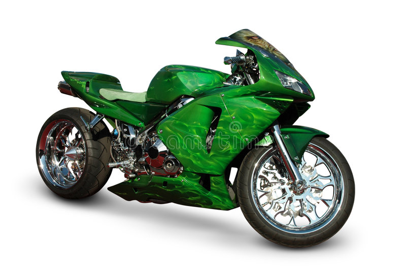 Green Sport Bike On White. A photograph of a sport bike isolated on white. Clipping path on bike. See my portfolio for more automotive images stock images