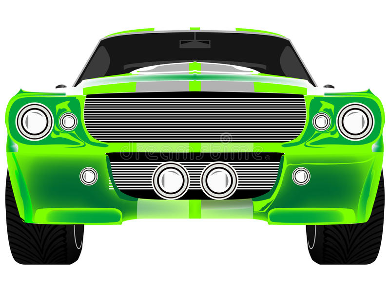 Green sport car front isolated on white stock illustration