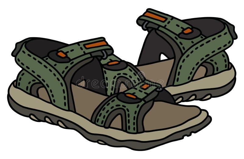 Green sport sandals vector illustration