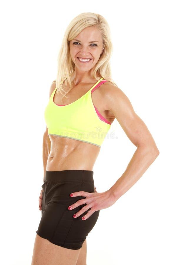 Green Sports Bra Woman Smile Side Royalty Free Stock Photos