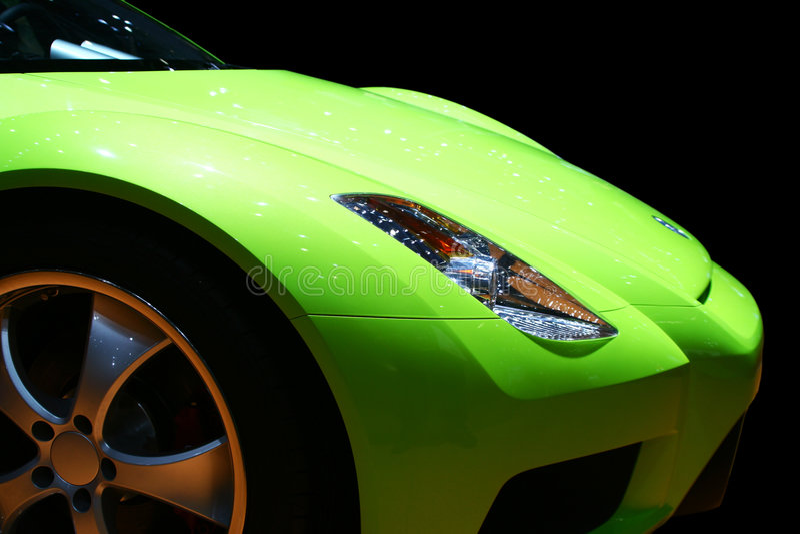 Green sports car stock image