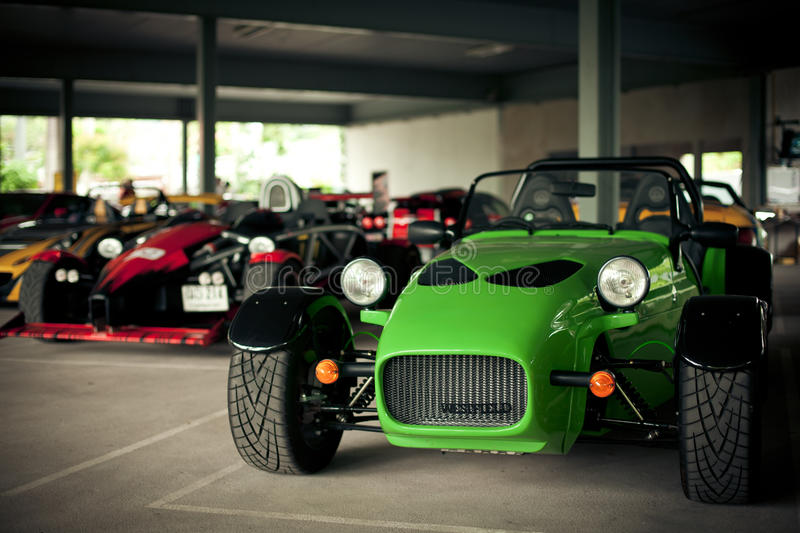 Green sports car caterham stock images