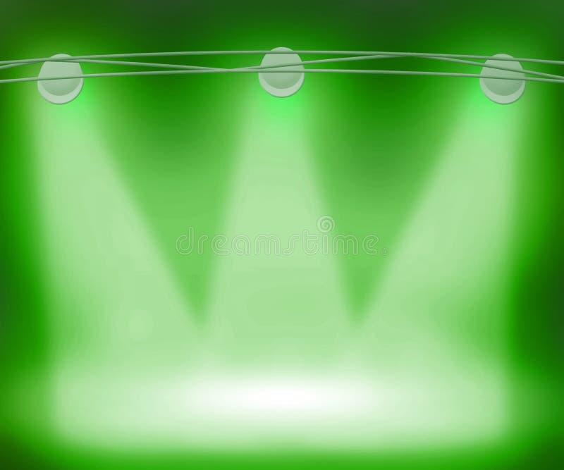 Green Spotlights Background vector illustration