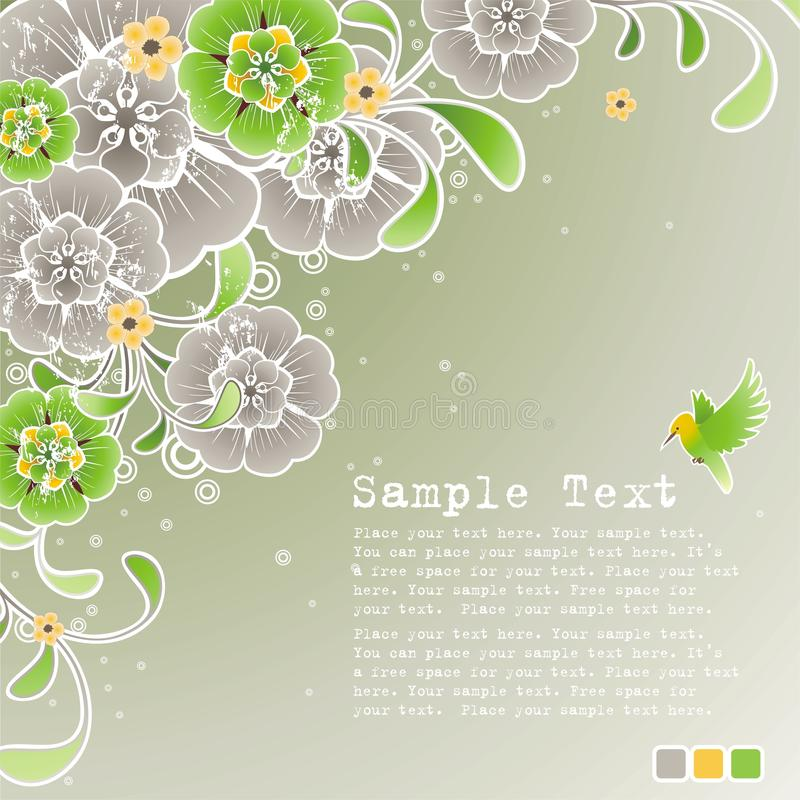 Green spring background with floral ornament royalty free illustration