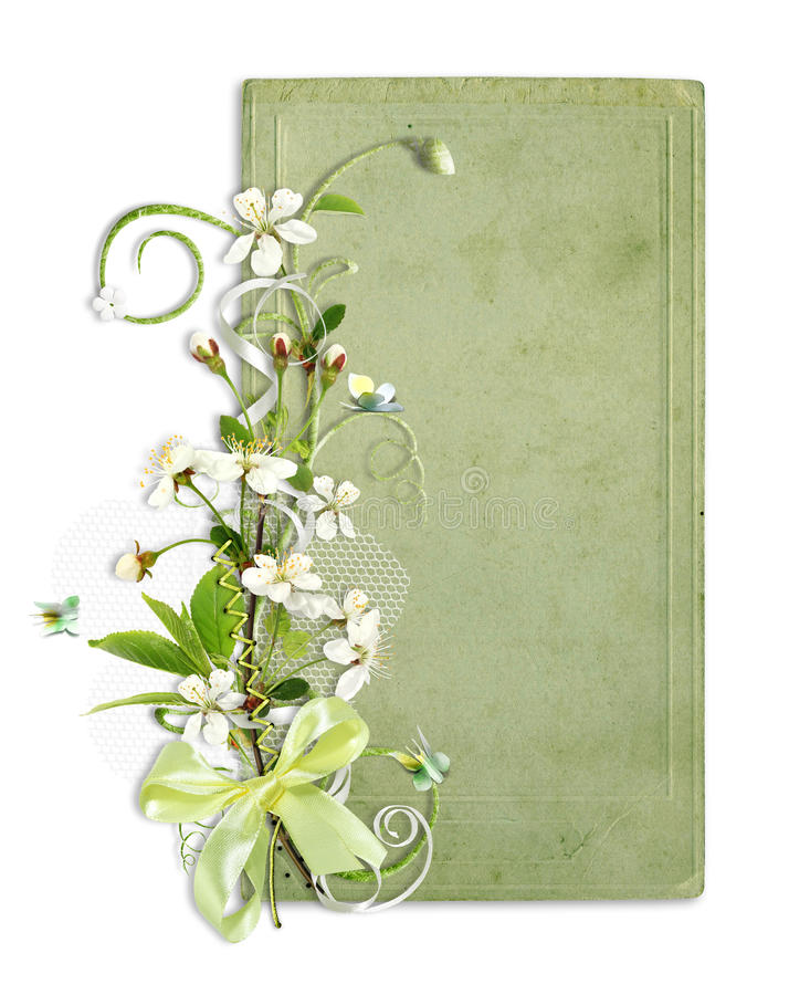 Green spring frame with cherry flowers royalty free illustration