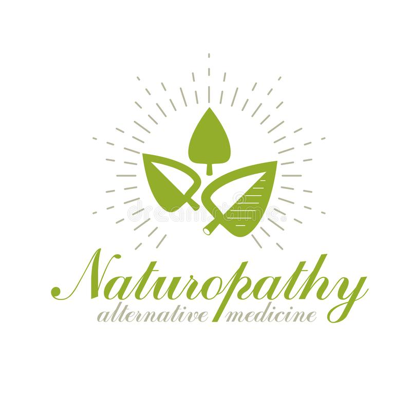 Green spring leaves vector symbol for use in holistic medicine, rehabilitation or pharmacology. Wellness and harmony symbolic. Emblem stock illustration