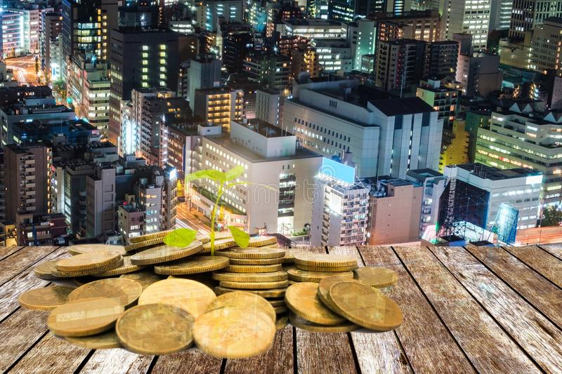 Green sprout growing on pile gold coins on city background stock images