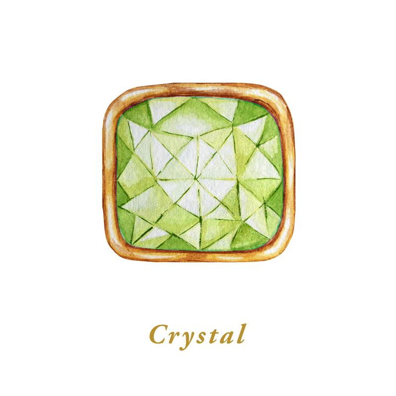 Green Square crystal in a gold frame. Hand drawn watercolor diamond. Isolated luxury object on white background. Bright royalty free illustration