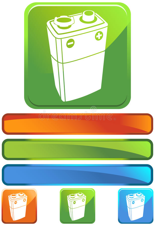 Download Green Square Icon - 9V Battery Stock Vector - Illustration: 10355627