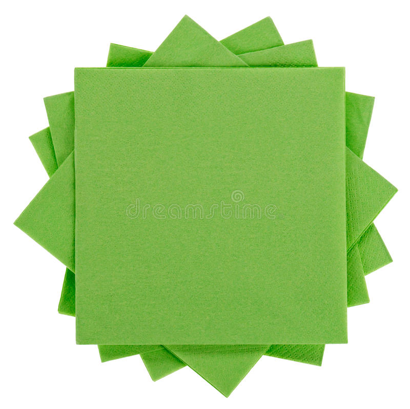 Green square paper serviette (tissue). Isolated on white stock images