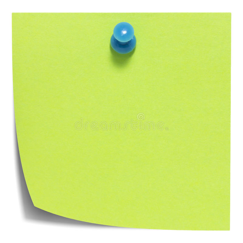 Green square sticky note, with a blue pin, isolated. On white background and with shadow royalty free stock images