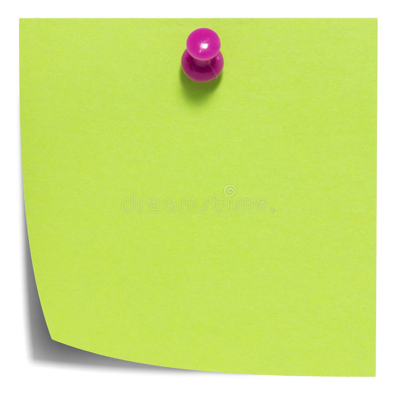 Green square sticky note, with pink pin, isolated royalty free stock photography