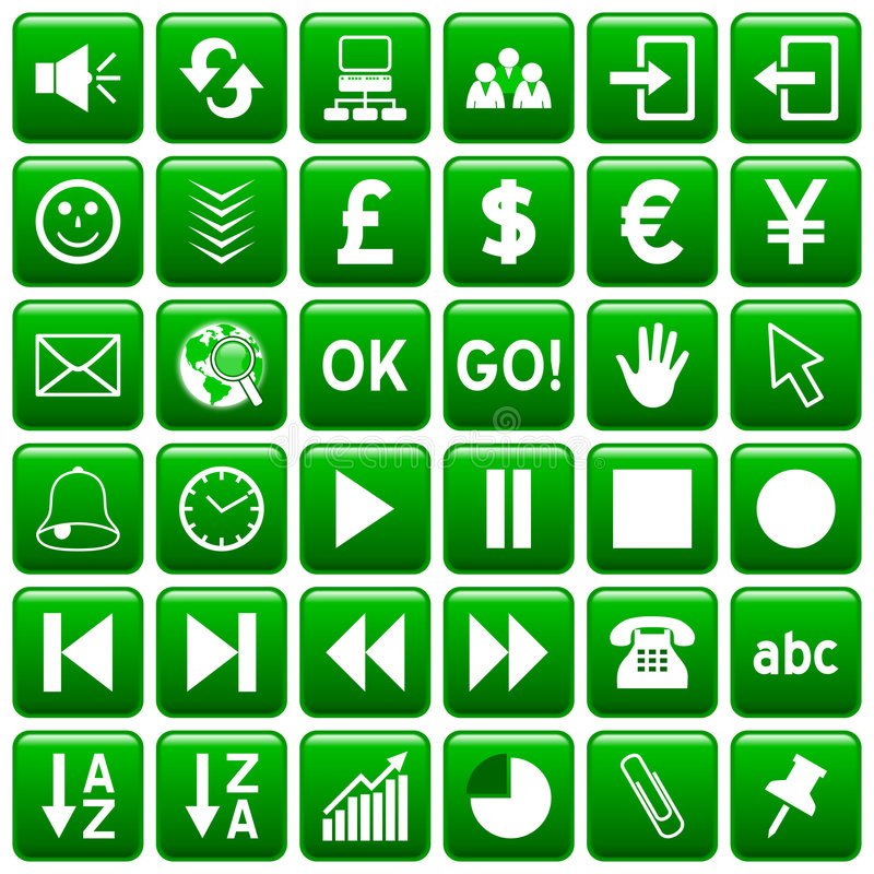 Green Square Web Buttons [3] vector illustration