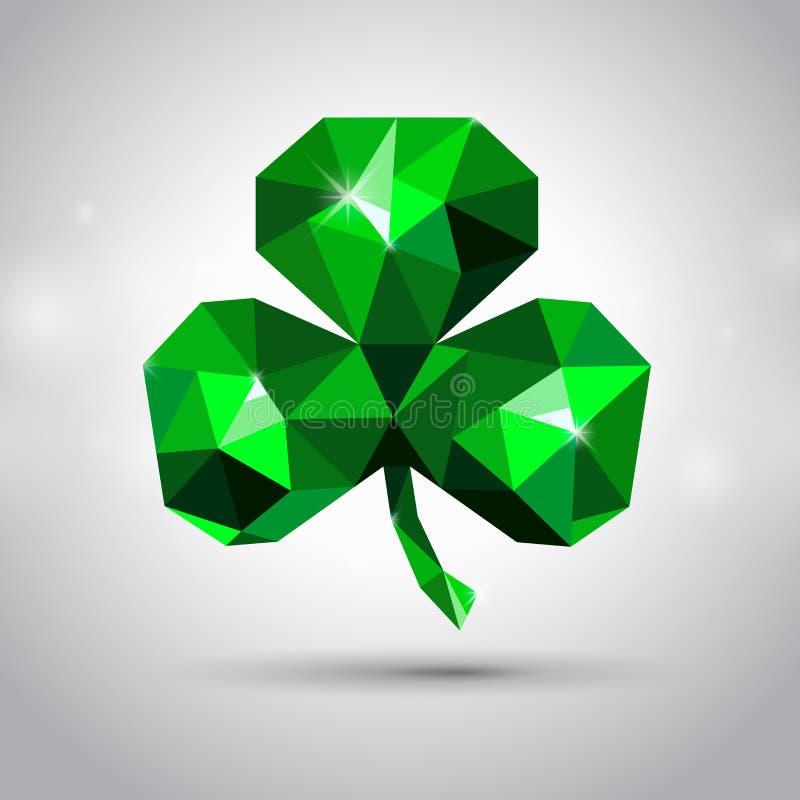 St. Patrick`s day symbol. Emerald clover or shamrock royalty free illustration