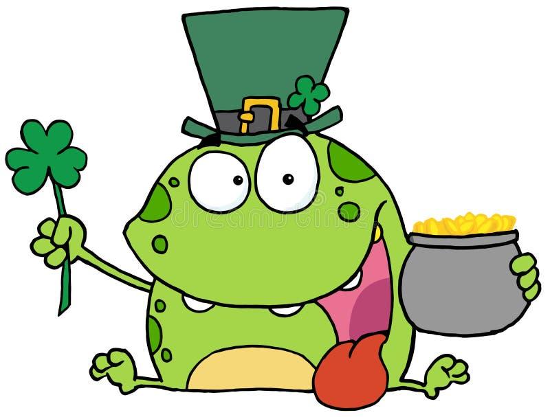 Green St Patricks Day Leprechaun Frog Wearing A Ha stock images