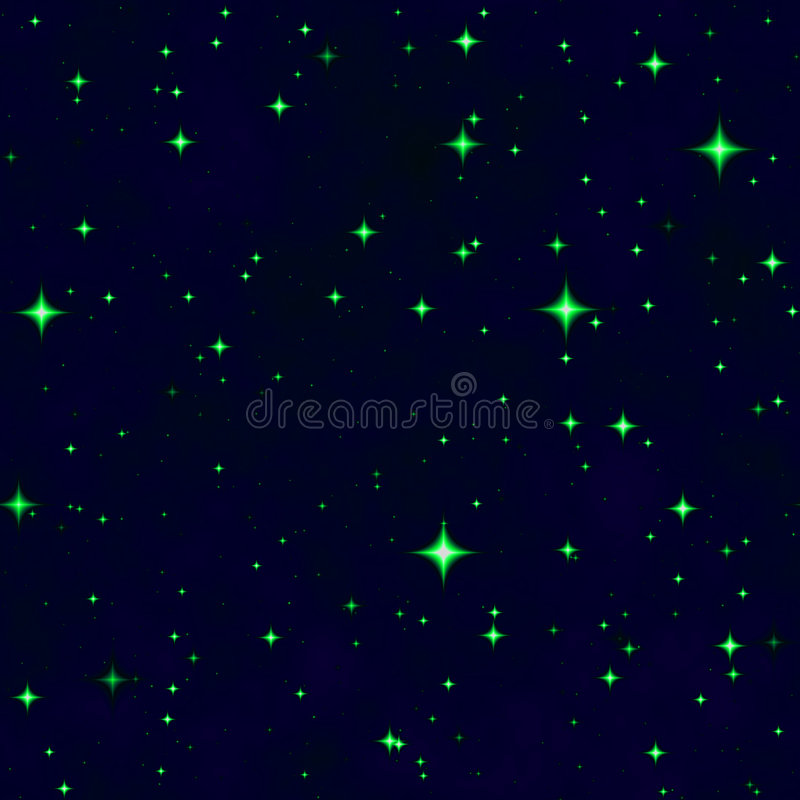 The green star fantasy night sky vector illustration