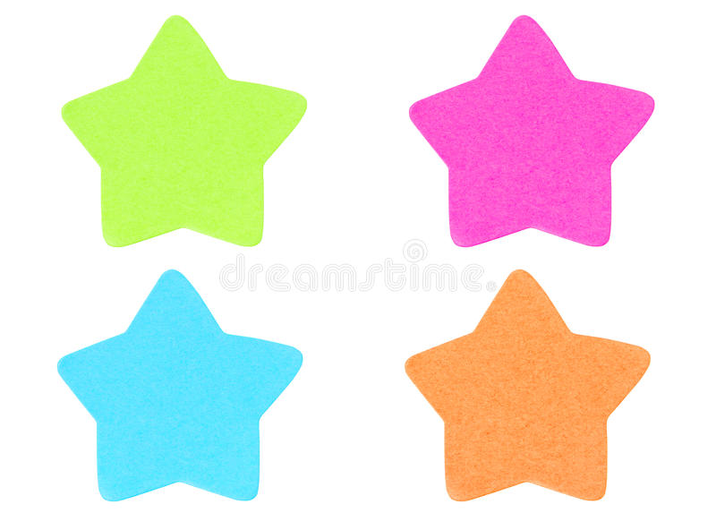 Green Star Shape Sticky Note. Green Star Shape Sticky Note Isolated On White Background stock photography