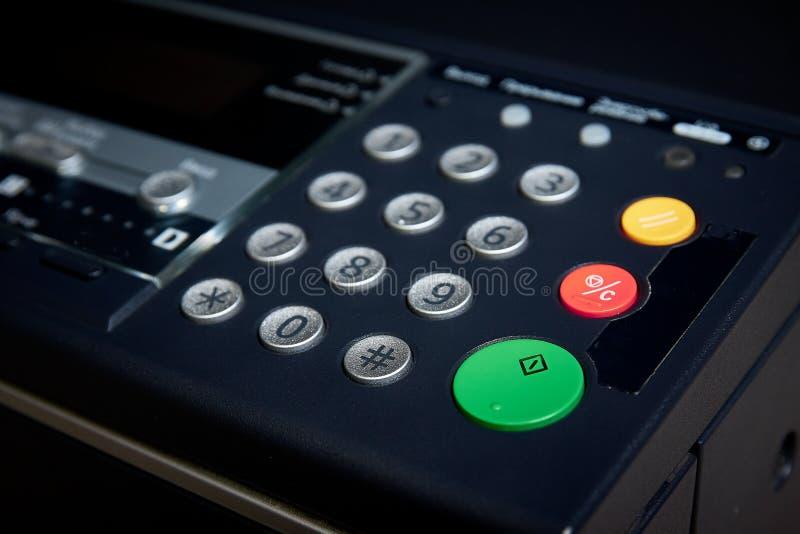 Green Start Button on a photo copier, fax, printer. Shallow focus, on work start. stock photos