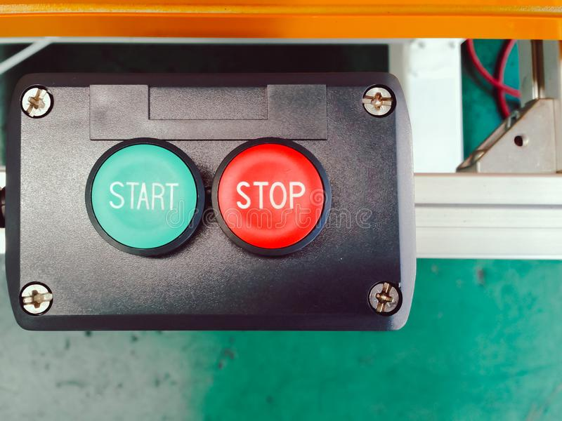 Green start and red stop of switch button set design in block co. Ntrol with sensor panel for automation system machine use in manufacturing stock image