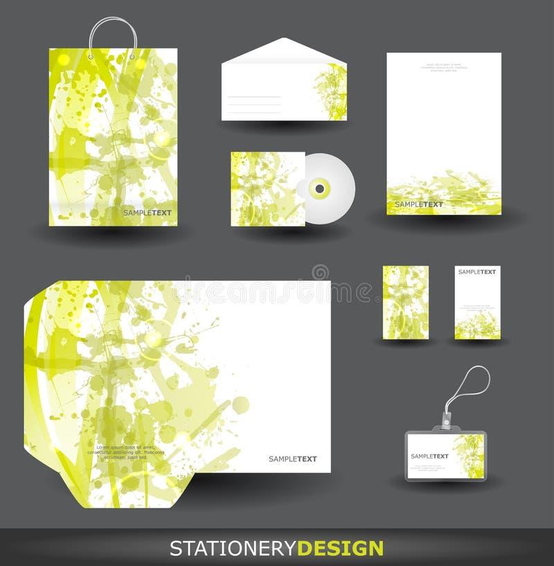 Green Stationery design set stock illustration