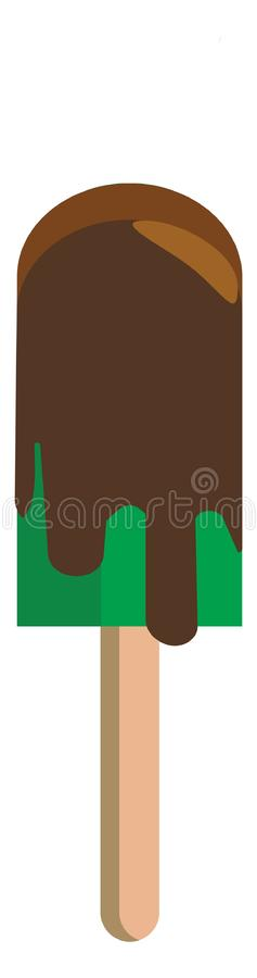 A green stick ice cream with chocolate dripping vector color drawing or illustration stock illustration