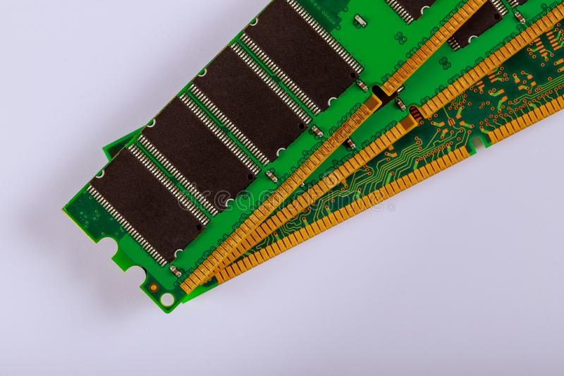 Green stick of RAM memory for computer with electronics components on computer repair space for your text. Green stick of RAM memory for computer with royalty free stock images