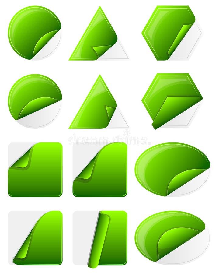 Green sticker label stock illustration