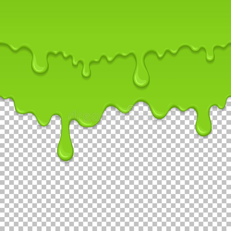 Green sticky liquid seamless element. Realistic dripping slime isolated object. Background with oozing zombie slime. Popular kids sensory game. Paint drips and royalty free illustration