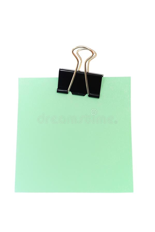 Green sticky note. An image of green sticky note on white royalty free stock image