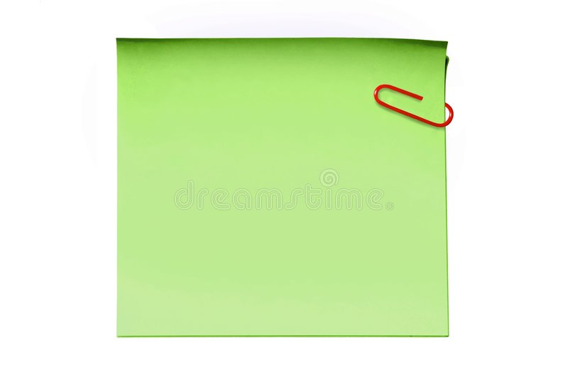 Green sticky note. And paper clip royalty free stock images