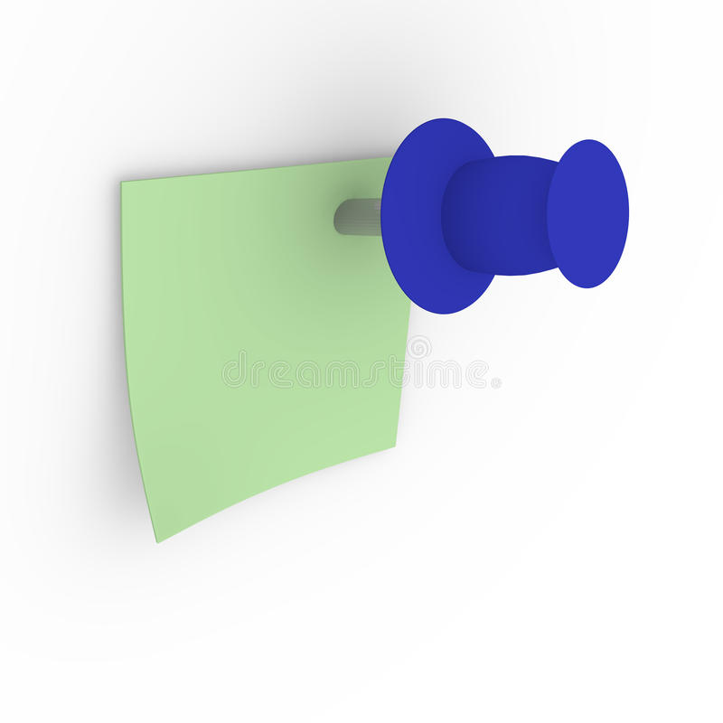 Green sticky note with blue pushpin. On a white board, 3d image stock illustration