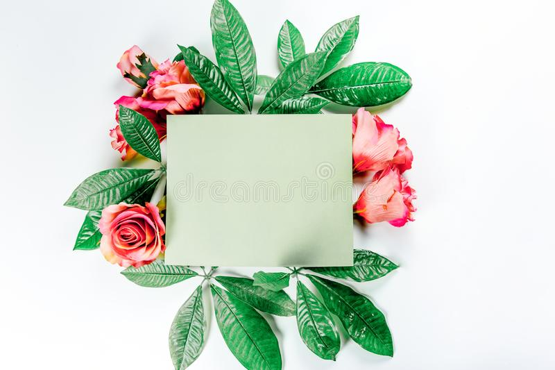Green sticky note with green plant leaves. On a white background stock image