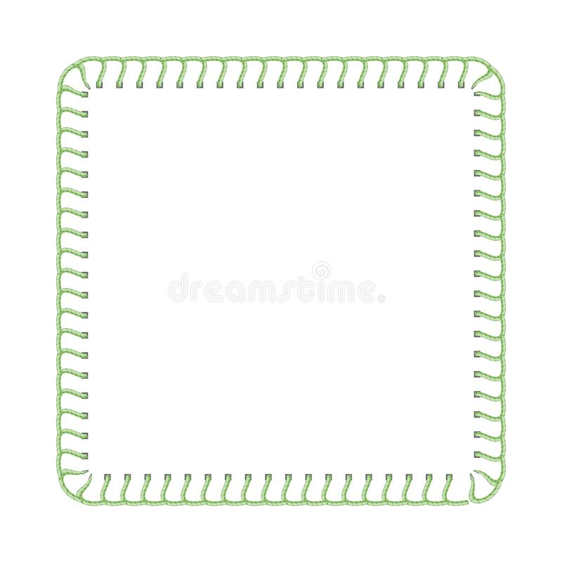 Free Green Stitch Thread Border For Textile Ad Design, Sewing Machine Seam Texture In Square Frame Shape Stock Photo - 156722220