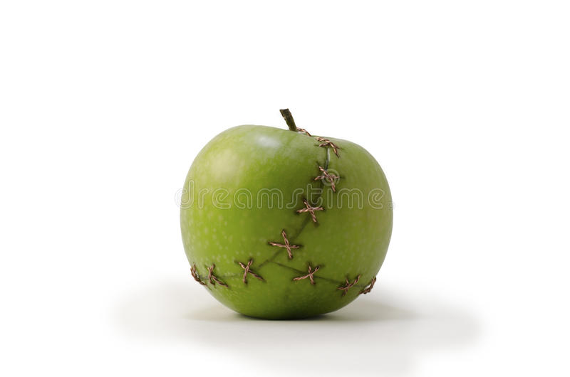 Green Stitched Apple royalty free stock image