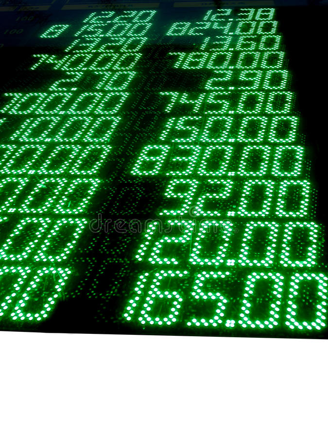 green stock numbers (prices), led panel, exchange royalty free illustration