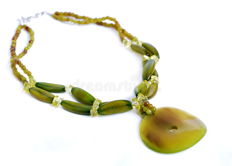 Green stone necklace stock photography