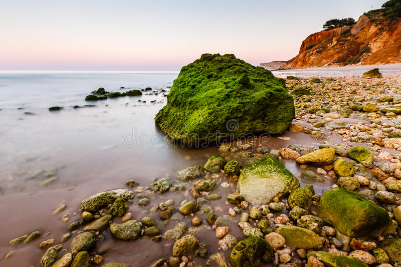 Download Green Stones At Porto De Mos Beach In Lagos, Algarve Stock Photo - Image: 33406018
