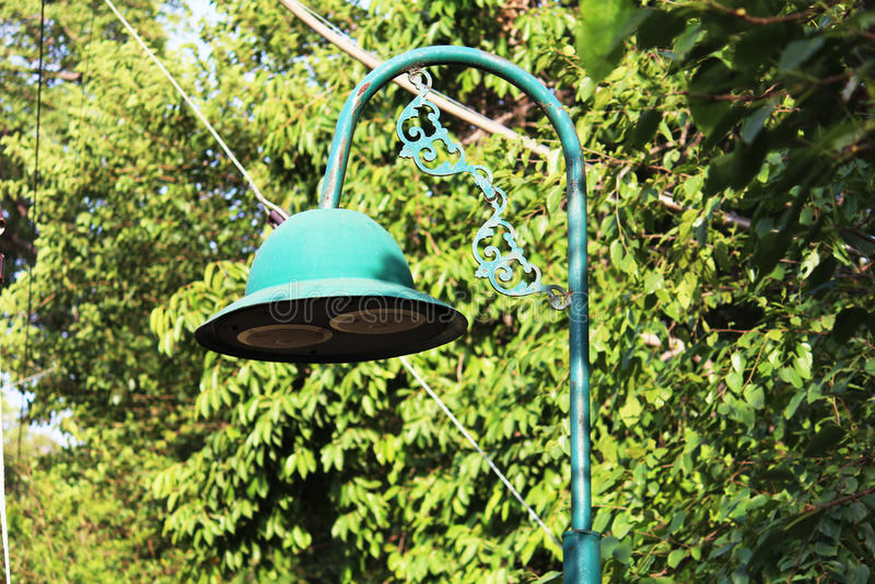 Green Street Lamp royalty free stock image