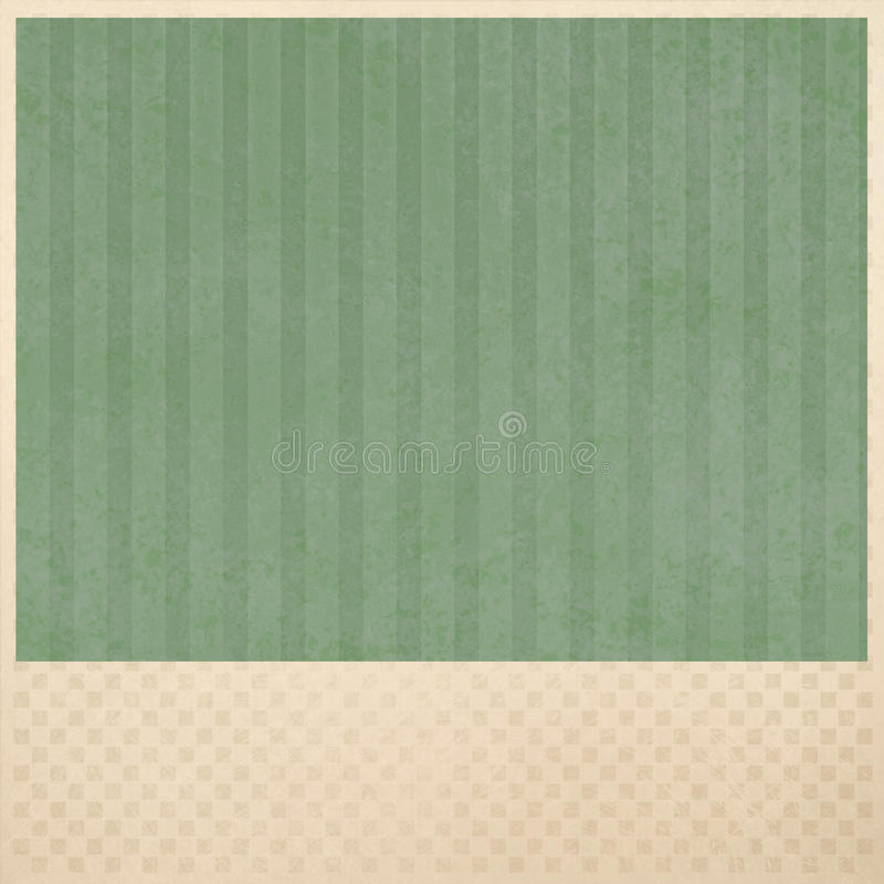 Green striped background on beige checkered pattern background layout stock photography