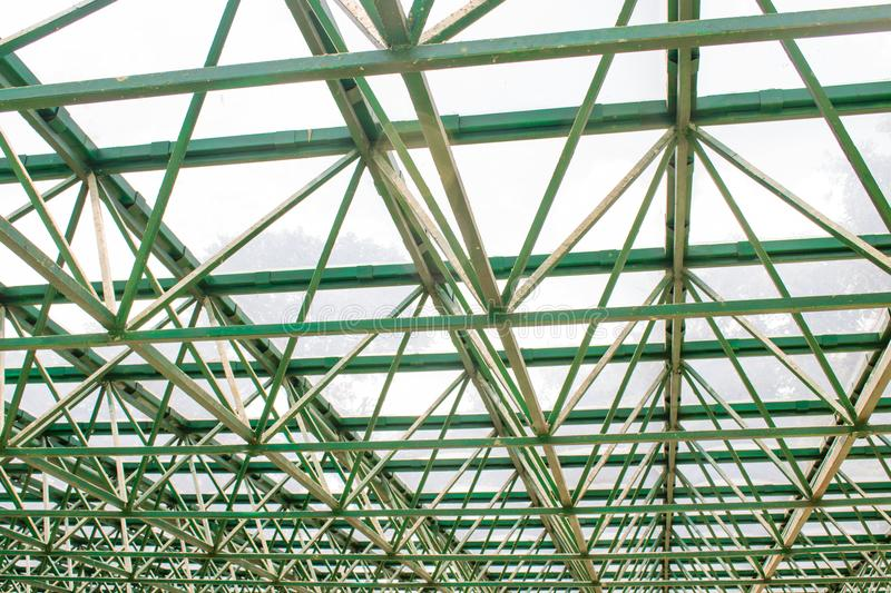 Structure of a greenhouse roof stock image