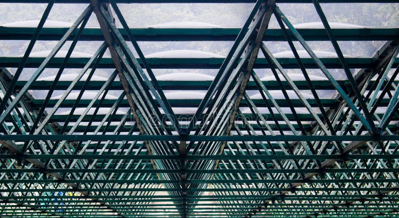 Green Structure/skeleton of a greenhouse roof royalty free stock images