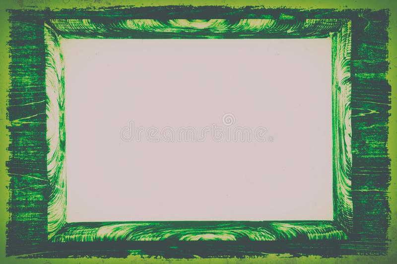 Green stylized vintage wooden frame, tinted.copy space royalty free stock photos
