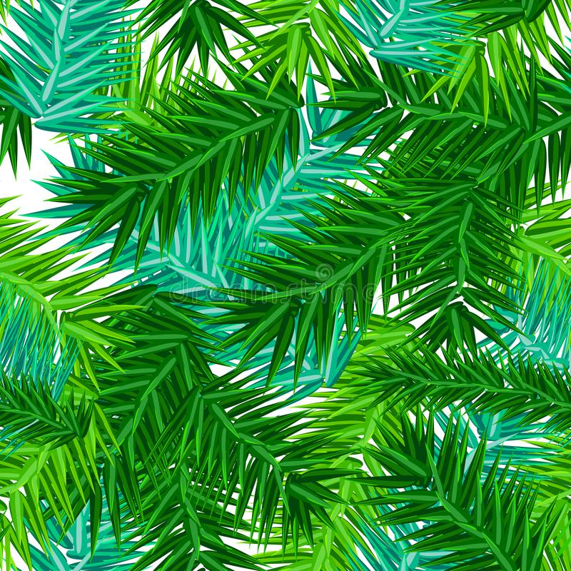 Green succulent fir branches seamless pattern on white royalty free illustration