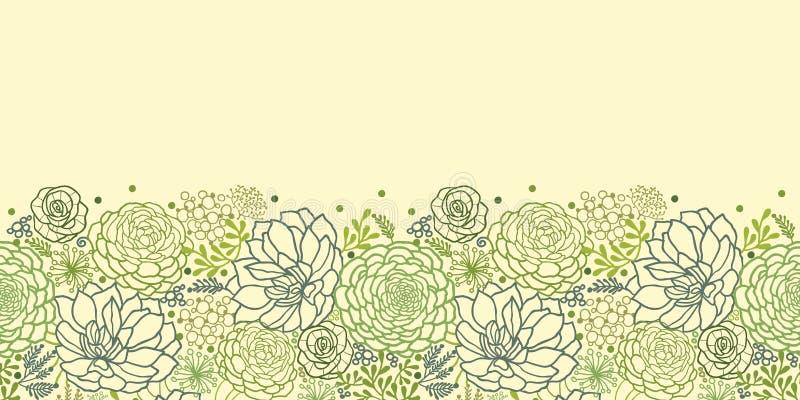 Green succulent plants horizontal seamless pattern stock illustration