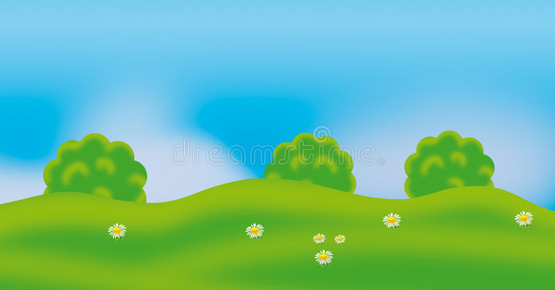 Green summer landscape sky forest kids. Green summer nature field flowers background, blue sky and trees and flowers on green grass. Festive holiday landscape royalty free illustration