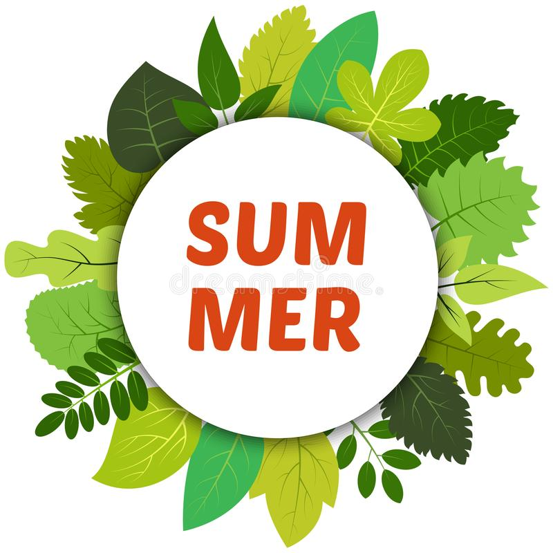 Green summer leaves under white round label and inscription summer vector illustration