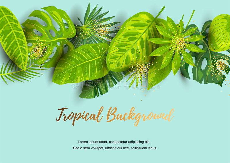 Green summer tropical background with exotic leaves stock illustration