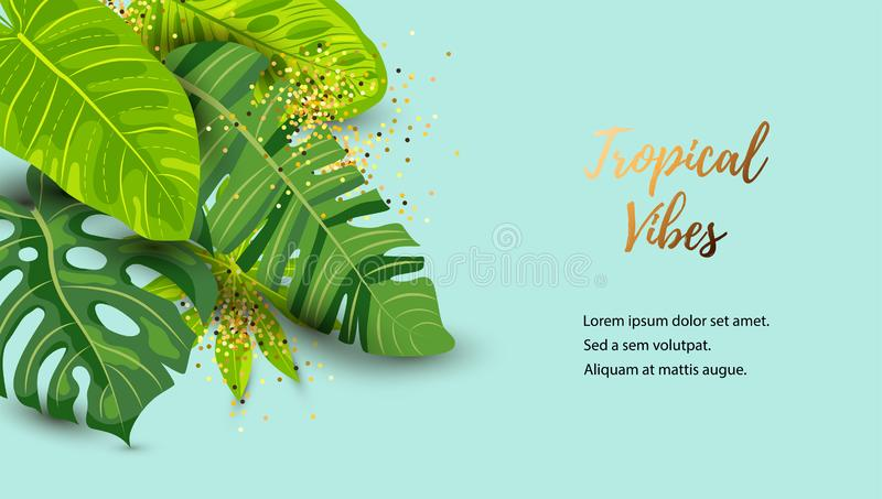 Green summer tropical background with exotic leaves royalty free illustration