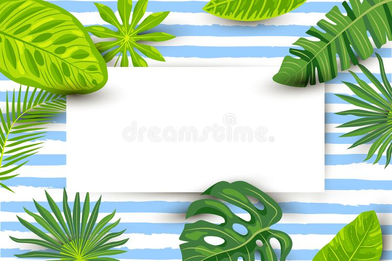 Green summer tropical background with exotic leaves, paper sheet vector illustration